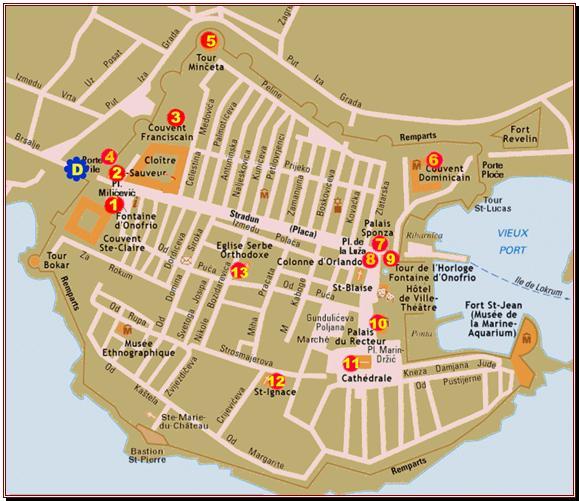 Plan De La Vieille Ville De Dubrovnik